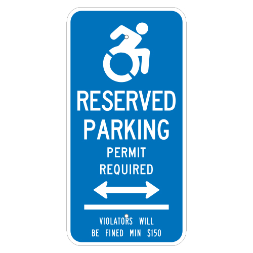 Handicapped Parking Permit Required Sign, with Arrow (Connecticut)
