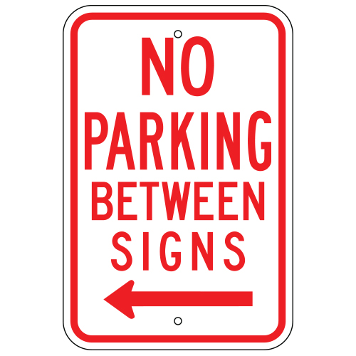 No Parking Between Signs, with Left Arrow