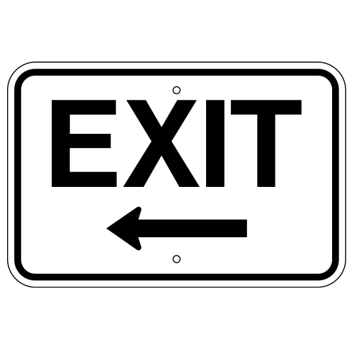 Exit Sign, with Left Arrow (Horizontal)