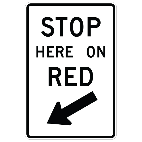 Stop Here On Red Sign (non-curved arrow)