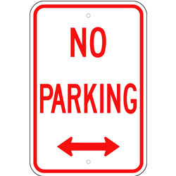 No Parking Sign, with Arrow