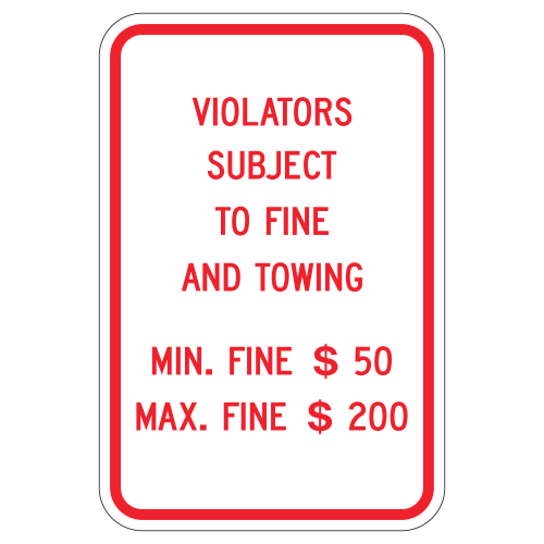 Violators Subject to Fine and Towing Sign (Pennsylvania)