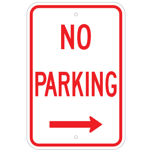 No Parking Sign, with Right Arrow