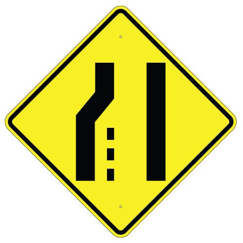 Lane Ends Left Symbol Sign