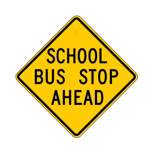 School Bus Stop Ahead Sign