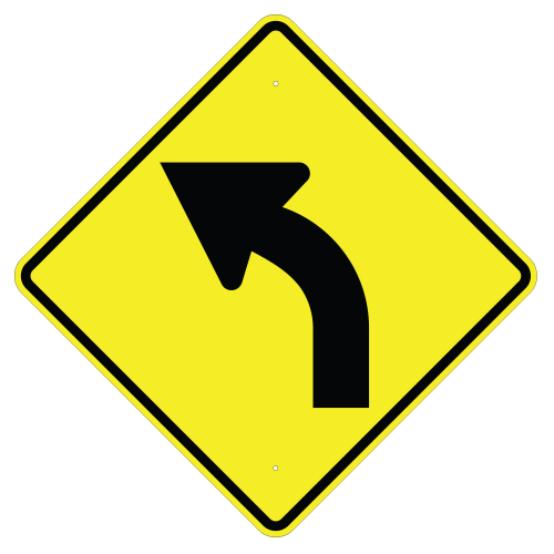 Left Curve Arrow Sign