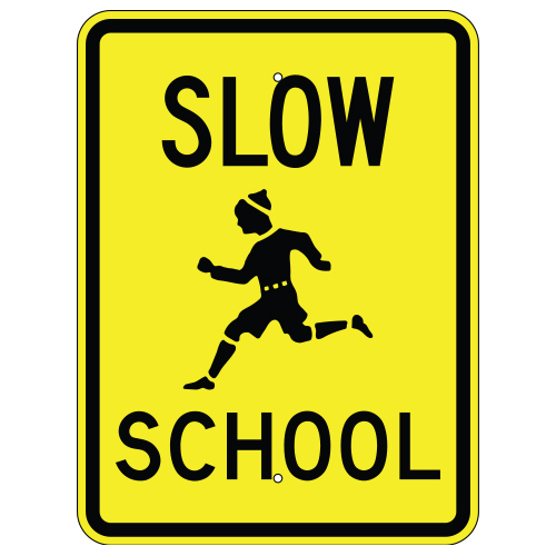 Slow School with Child Symbol Sign