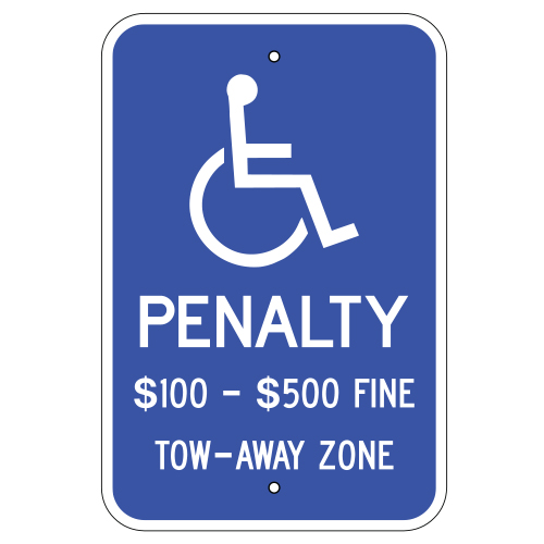 Handicap Penalty $100-$500 Fine Tow-Away Zone (Virginia)
