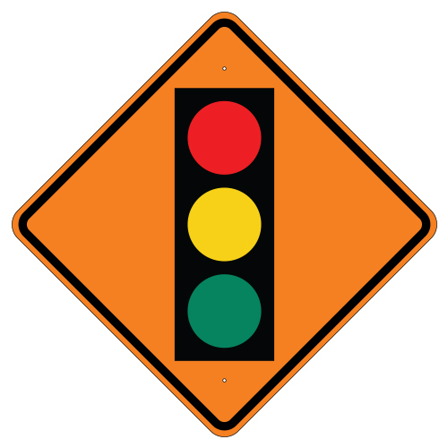 Signal Ahead Symbol Sign, Orange