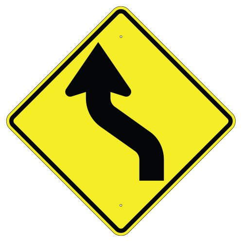 Left Reverse Curve Arrow Sign