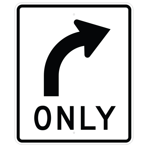 Right Turn Only Symbol Sign